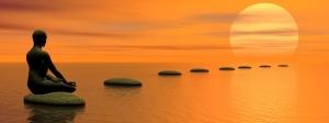 Meditating steps to the sun - 3D render